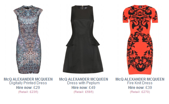 Alexander McQueen dresses to hire
