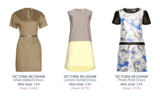 Victoria Beckham dresses to hire
