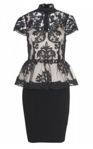 Alice   Olivia Chantilly Lace Peplum Dress large 187x300 Black Lace Evening Dresses: Halloween