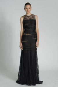 CARMEN MARC VALVO Sleeveless Lace Shutter Gown large 200x300 Black Lace Evening Dresses: Halloween