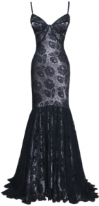 Dina Bar El Louise Gown 2 large 145x300 Black Lace Evening Dresses: Halloween
