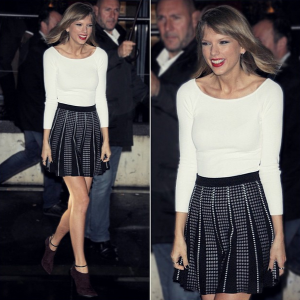 Taylor Swift in a BCBGMAXAZRIA skirt.