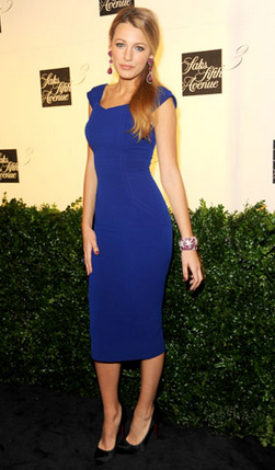 Blake Lively wearing a blue Victoria Beckham dress on the red carpet. Rent Victoria Beckham at Girl Meets Dress!