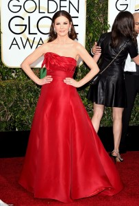 Catherine Zeta Jones graces the Golden Globes in a classic red gown