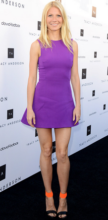 Gwyneth Paltrow chooses a purple Victoria Beckham  dress for an event. Rent Victoria Beckham at Girl Meets Dress!