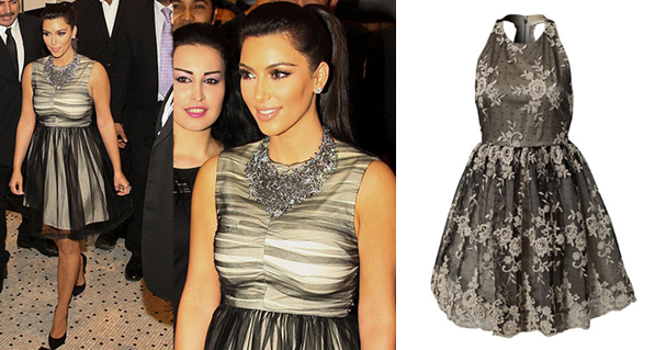 Kim Kardashian in Alice and Olivia at an event in Dubaii. Alice and Olivia - Betrice Dress available at Girl Meets Dress