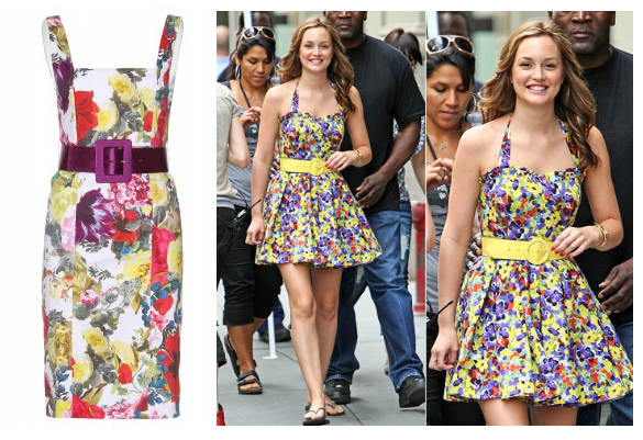 Leighton Meester in Floral Alice and Olivia. The Alice and Olivia - Natalie Belted Dress is available at Girl Meets Dress