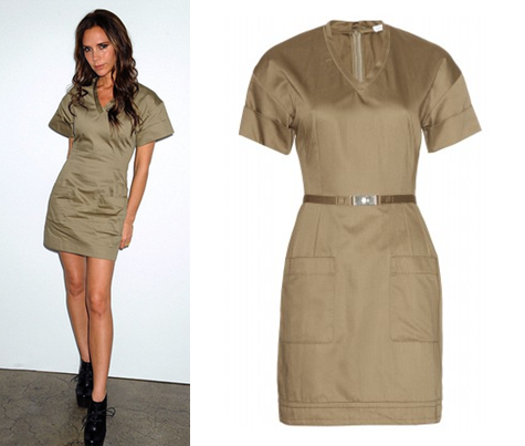 Rent the Victoria Beckham - Khaki Belted Dress from Girl Meets Dress
