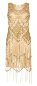 GATSBYLADY - Isobel Gold Fringe Dress  (Hire - £85)