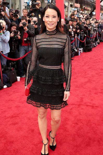 Lucy Liu in Hall Mini Black Dress