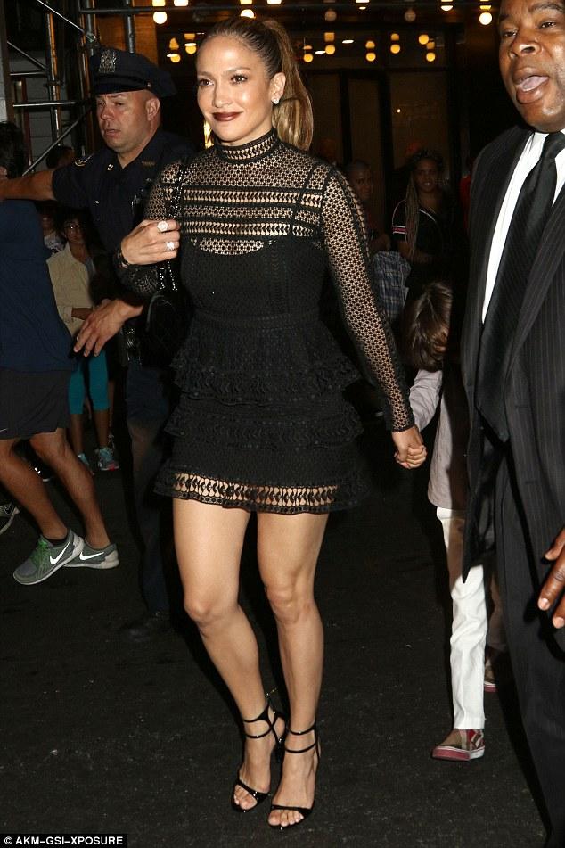 Jennifer Lopez in Hall Mini Black Dress
