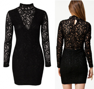 Pearl - Collared Lace Dress in Black