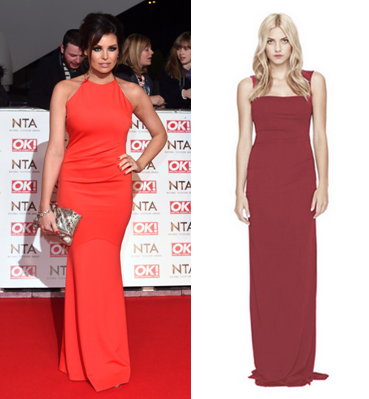 Jess Wright in a sleek red dress. Hire the Nicole Miller - Felicity Gown from Girl Meets Dress
