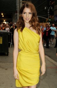 Anna Kendrick attends an event a yellow dress from Halston Heritage.