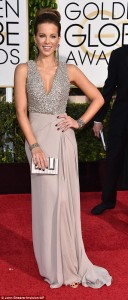 Kate Beckinsale dazzles in a pewter coloured dress with a low-cut gem bodice