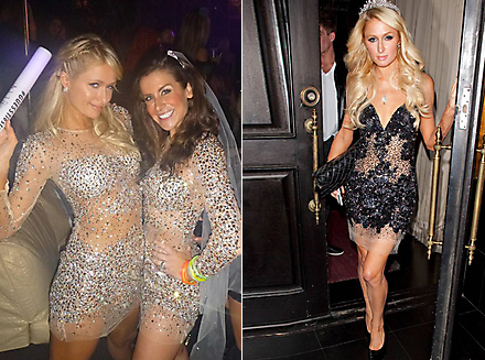 Party-girl Paris Hilton often wears Jovani. Rent her Nude Sequin Dress from Girl Meets Dress!