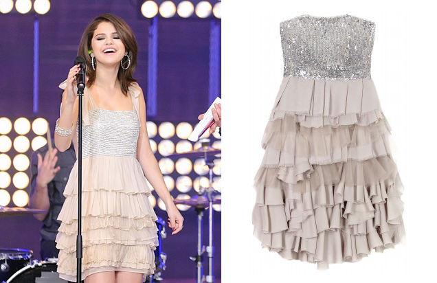 Selena Gomez performs in Alice and Olivia. The Mei Cocktail Dress is available at Girl Meets Dress!