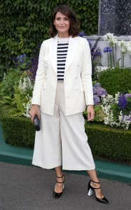 Gemma Arterton looks elegant on day three of play in cream culottes with a matching jacket, worn over a classic breton jumper