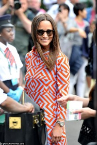 Pippa Middleton And today she showed off her sartorial style again in a red and grey geometric print dress by Tabitha Webb.