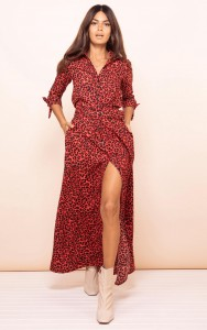 DOVE DRESS IN RUBY RED LEOPARD