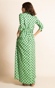 Rent DOVE DRESS IN GREEN DOTTY